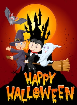 Happy halloween with little kid and ghost