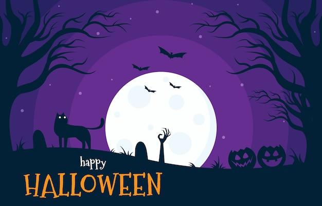 Happy halloween with moon light illustration in flat style