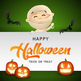 Happy halloween with mummy, bats and pumpkin heads