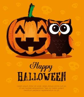 Happy halloween  with owl