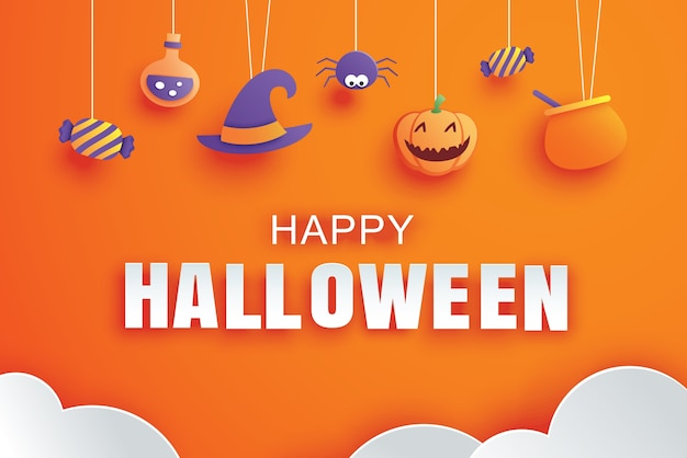 Happy halloween with paper art element design for greeting card, banner, poster, invitation.