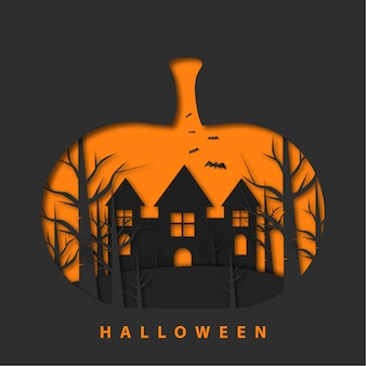 Happy halloween with papercut style