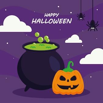 Счастливый хэллоуин с тыквенным шаржем и дизайном чаши ведьмы, праздником и страшной темой.