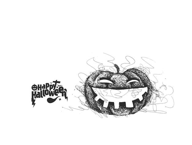 Happy halloween with pumpkin hand drawn sketch vector design