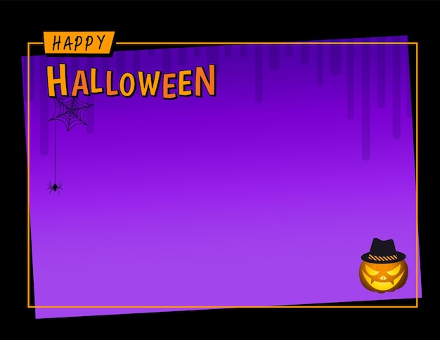 Happy halloween with pumpkin on purple background
