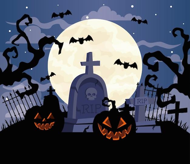 Happy halloween with pumpkins, bats flying, in cemetery scene