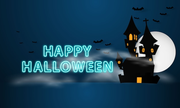 Happy halloween with scary castle silhouette