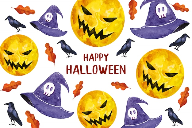 Happy halloween with scary moon and hats greeting card in watercolor style