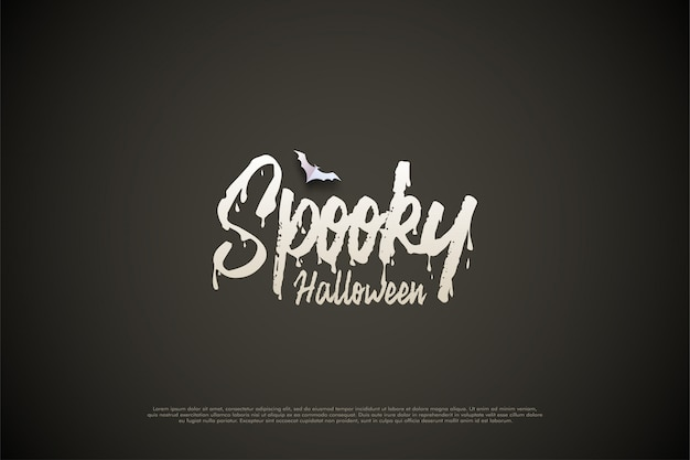 Happy halloween with scary writing theme in white.