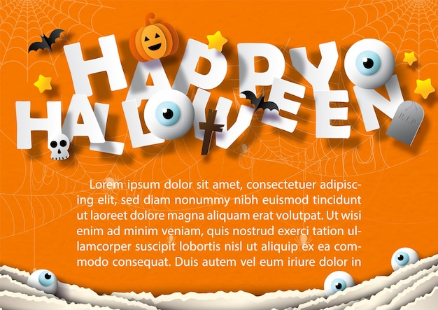 Happy halloween with sign object of halloween  in paper cut style and example texts on spider webs and orange paper pattern background.