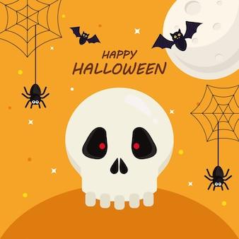 Счастливый хэллоуин с черепом мультяшный дизайн, праздник и страшная тема.