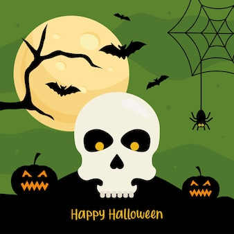Happy halloween with skull cartoon design, holiday and scary theme.