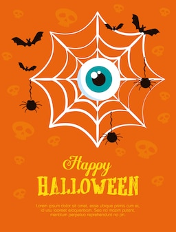 Happy halloween  with spiderweb