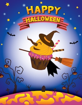 Happy halloween with witch cupcake.