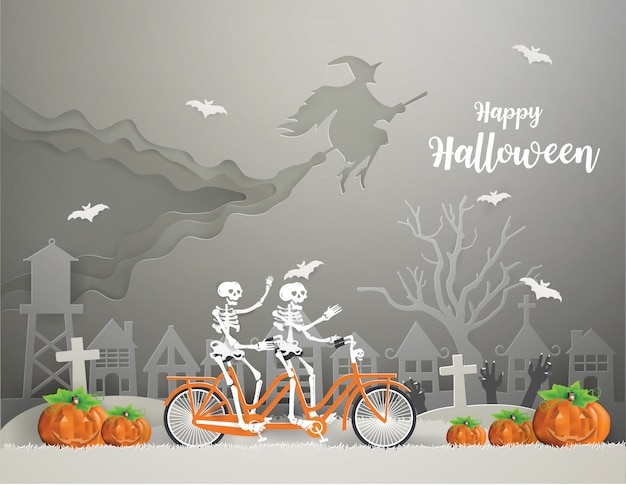 Happy halloween with a witch riding a broom on  the sky and skeletons riding bicycle on gray grass go to party