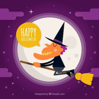 Happy halloween with a wizard on his broom