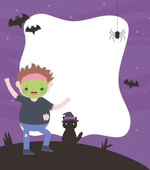 Счастливого хэллоуина, зомби-мальчик и костюм кошки, трюк или угощение, празднование вечеринки