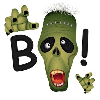 Happy halloween zombie monster eyes,paper art style.