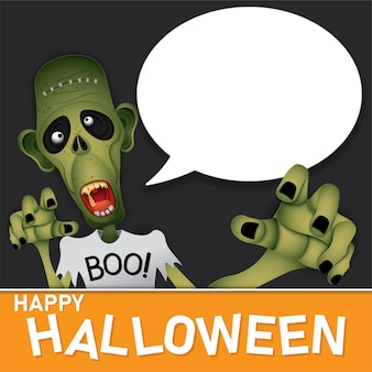 Happy halloween zombie monster and text box on background.