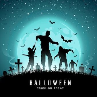 Счастливый хэллоуин зомби и летучая мышь на фоне полной луны векторные иллюстрации