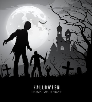 Happy halloween zombies on moon and castle background vector illustration