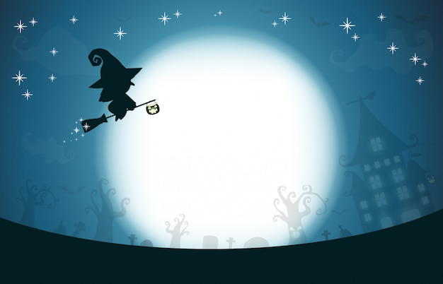 Happy halloween, ведьма силуэт на луне, тема дизайна фона