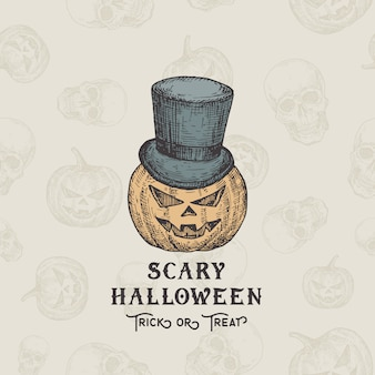 幸せなhalloweentrickまたは御馳走の背景またはカードテンプレート。手描きのカボチャ頭は円柱帽子のスケッチイラストです。シームレスなカボチャパターンを持つ休日の装飾的組成物。