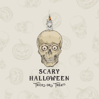 Happy halloweentrick or treat  background or card template. hand drawn scull with eyes and candle sketch illustrations. holiday decorative composition with seamless scull and pumpkins pattern.
