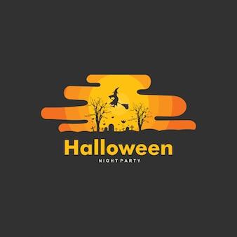 幸せなハロウィーンのロゴのテンプレートデザイン