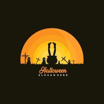 Счастливый хэллоуин дизайн шаблона иллюстрация