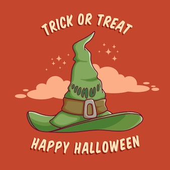 Happy hallowen witch hat design with flat design best use for poster web banner invitation