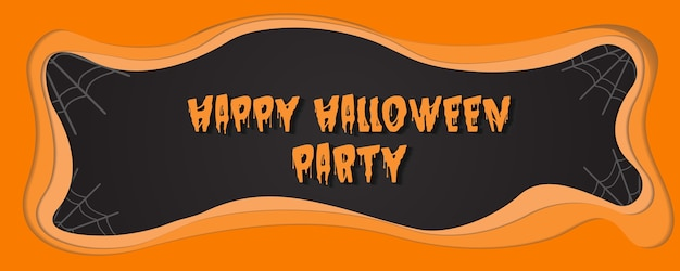 Happy hallowween party  paper cut vector illustration