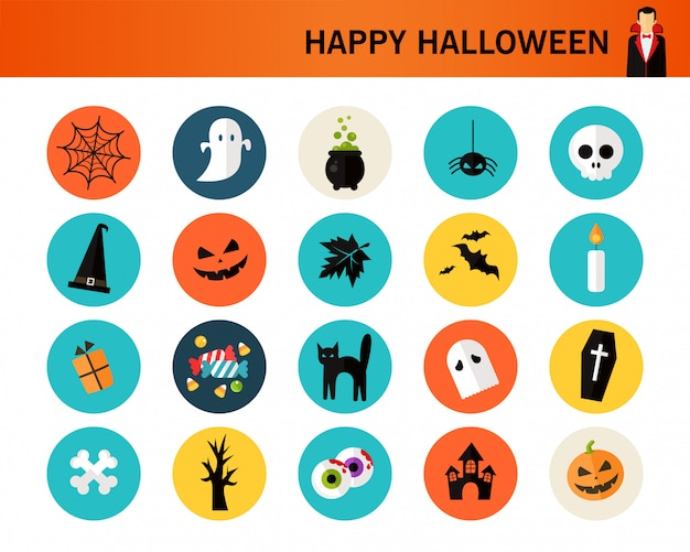 Happy haloween consept flat icons.