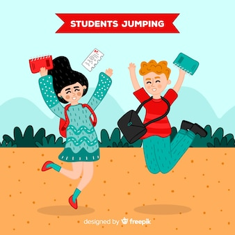 Happy hand drawn students jumping