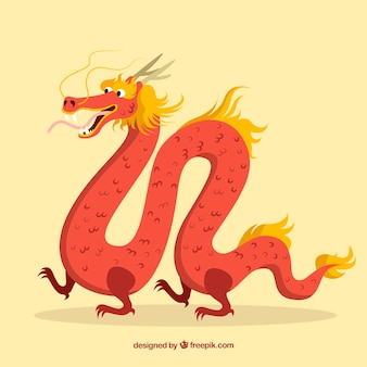 Happy hand drawn traditional chinese dragon