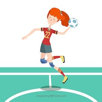 Happy handball player with flat design