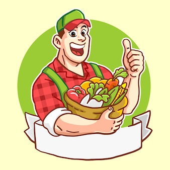 Happy handsome farmer with a basket bull of vegetables