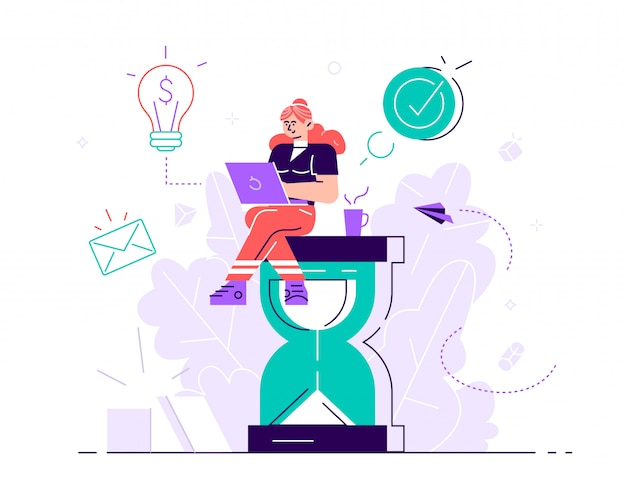Happy handsome office worker sitting on an hourglass and doing several actions at the same time. multitasking, productivity and time management concept. flat style  illustration