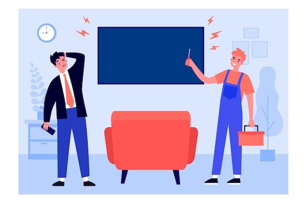 행복한 재주꾼이 텔레비전 모니터를 수리하고 있습니다. 홈, 드라이버, 수리공 평면 벡터 일러스트 레이 션. 배너, 웹 사이트 디자인 또는 방문 웹 페이지에 대한 서비스 및 유지 관리 개념