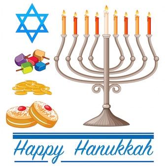 Счастливая тема hannukkah с пончиками и огнями