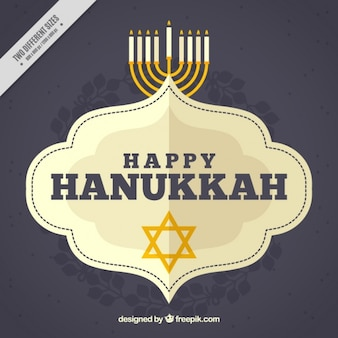Happy hanukkah background with star and candelabra