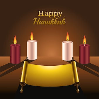Happy hanukkah celebration card with patchment and candles
