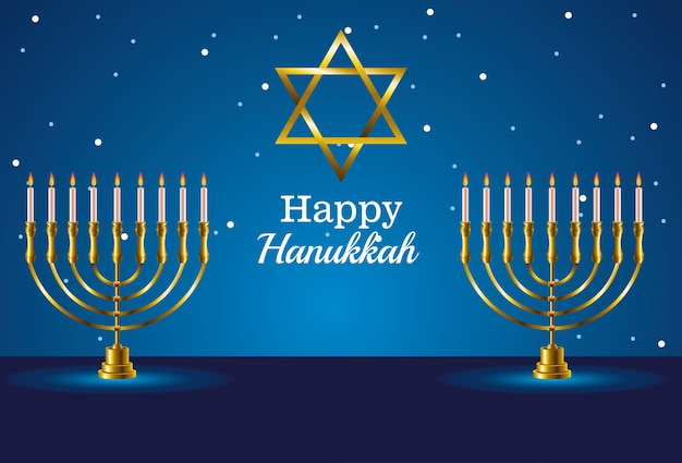 Happy hanukkah celebration card with star and chandeliers