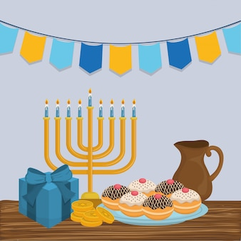 Happy hanukkah celebration icons