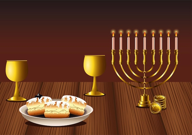 木製のテーブルにシャンデリアとドーナツで幸せなハヌカのお祝い