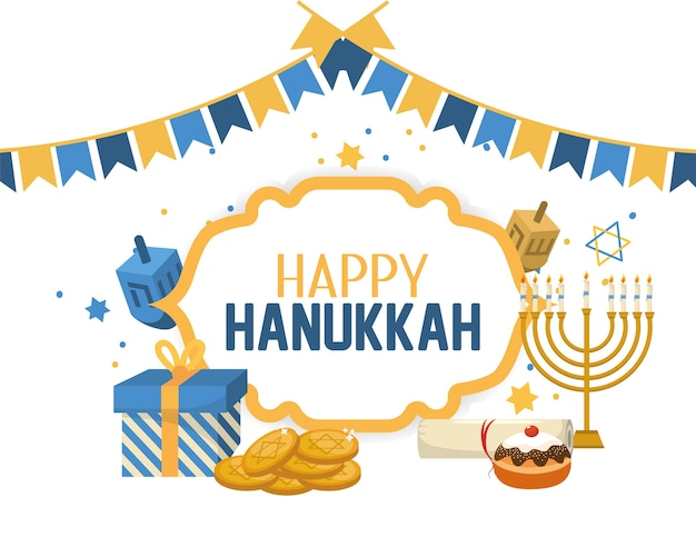 Happy hanukkah celebration with religion ceremony