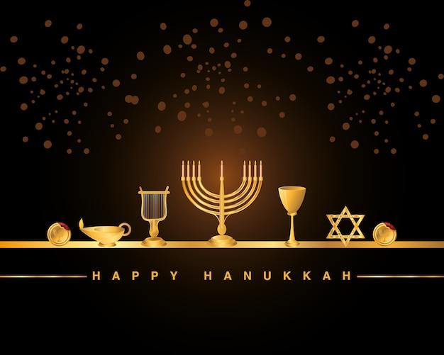 Happy hanukkah greeting card, golden menorah harp star cup lamp and coins