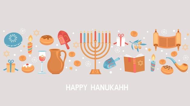 Happy hanukkah greeting card for jewish holiday
