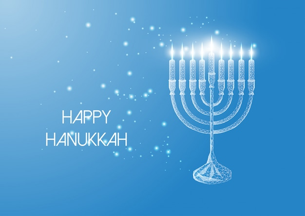 Happy hanukkah greeting card with glowing low poly menorah and burning candles on blue .