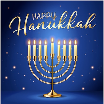 Happy hanukkah greeting card with gold inscription and golden realistic menorah